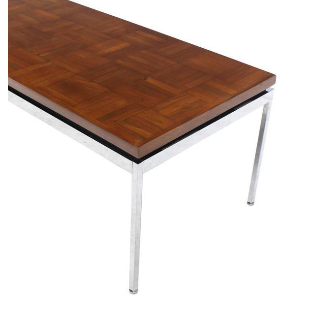 Chrome Solid Stainless Steel Heavy Base Rectangular Coffee Table with Parquet Top For Sale - Image 7 of 7