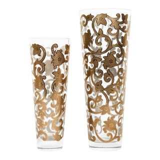 Mid-20th Century 24K Gold Inlaid Details Vases - a Pair For Sale