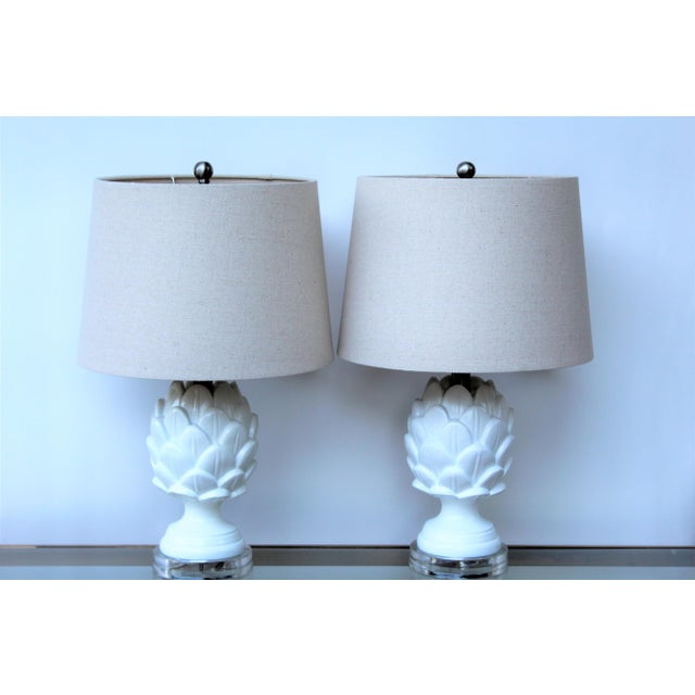 Contemporary White Artichoke Table Lamps - a Pair For Sale - Image 4 of 10