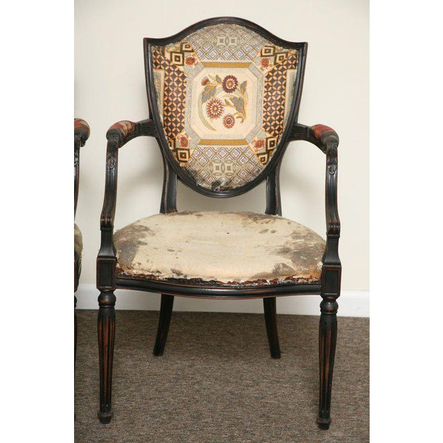 Neoclassical Pair of Neoclassical Elegant Wooden Armchairs For Sale - Image 3 of 10