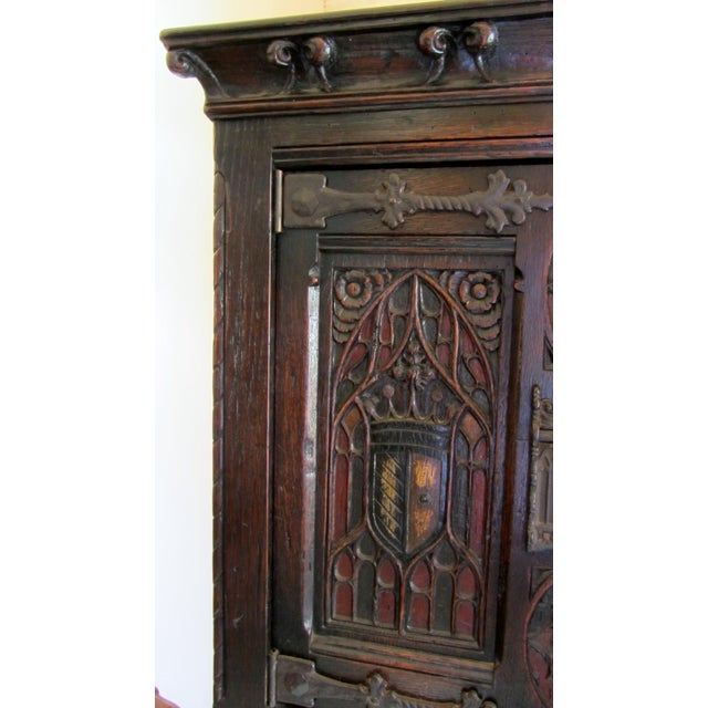 Gothic Revival Carved Oak Monastery Cabinet - Image 2 of 10