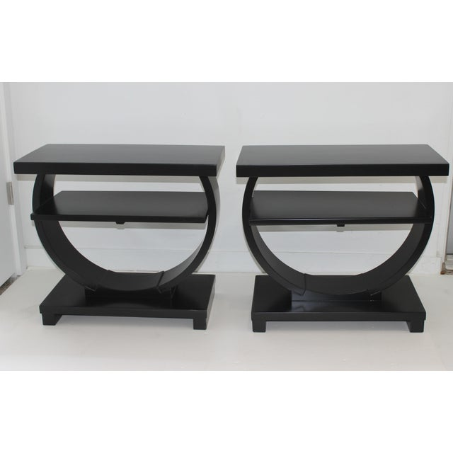 Modernage Brown Saltman Side Tables Art Deco 1930s 3-Tiers Ebonized - a Pair For Sale - Image 12 of 13