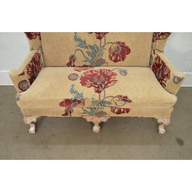 Drexel Heritage Drexel Heritage Gentlemans Home Floral Upholstered Chippendale Settee Loveseat For Sale - Image 4 of 13