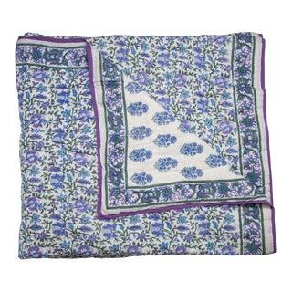Aria-Riya Reversible Quilt, Queen - Lavendar & Blue For Sale
