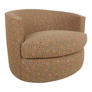 Vintage Modern Milo Baughman Style Barrel Back Swivel Chair For Sale