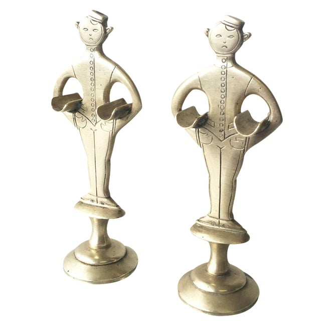 """1920s Brass """"Bellhop"""" Cigarette Holders - A Pair - Image 1 of 4"""