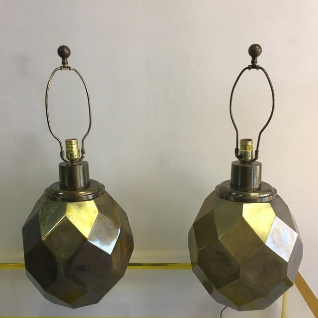 1977 Faceted Chapman Brass Lamps - a Pair - Image 5 of 8