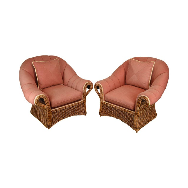Pierce Martin Quality Pair Rolled Arm Wicker Lounge Chairs For Sale - Image 13 of 13