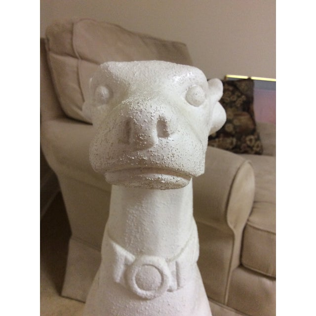 White Whippet Statue For Sale - Image 4 of 7