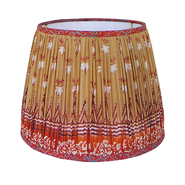 Not Yet Made - Made To Order Tan/Orange Sari Gathered Lamp Shade For Sale - Image 5 of 5