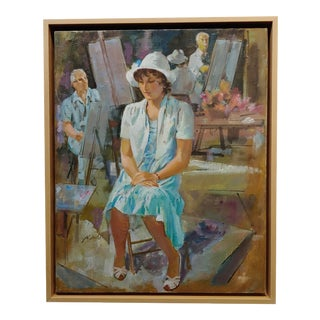 Jo Kotula -Portrait Session With a Sitting Model -Oil Painting For Sale
