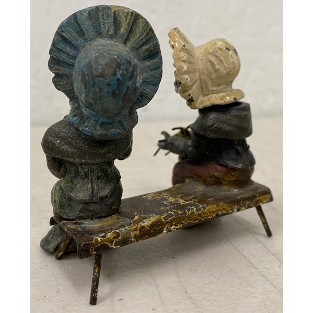 Arts & Crafts Georg Heyde Painted Metal Cats With Shaking Heads C.1890s For Sale - Image 3 of 8