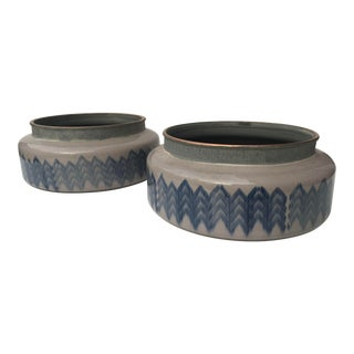 Artisan Handmade Craqueleur Glazed Ceramic Cachet Pots - a Pair For Sale