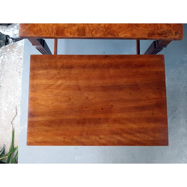 1960s Vintage Heritage Furniture Cherry Nesting Tables With Curly Burl Wood Banding, 2 Pieces For Sale - Image 5 of 13