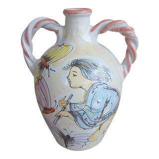 "Vintage Italian Edna Hibel ""Festive Butterflies"" Pottery Handled Jug For Sale"