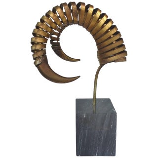 C. Jere Ram's Horn Sculpture on Marble Base, Twice Signed and Dated, 1983 For Sale