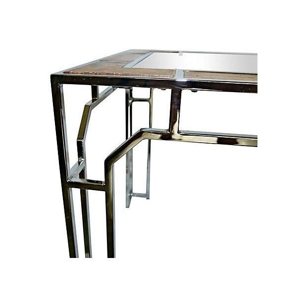 Milo Baughman-Style Chromed Steel & Burlwood Table - Image 5 of 5