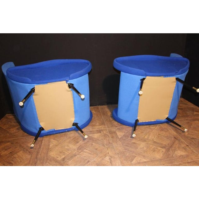 Marco Zanuso Italian Pair of Blue Mid-Century Chairs in the Style of Zanuso For Sale - Image 4 of 8