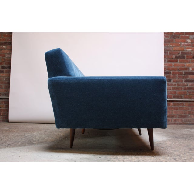Milo Baughman for Thayer Coggin Walnut Sofa in Blue Mohair For Sale - Image 11 of 13