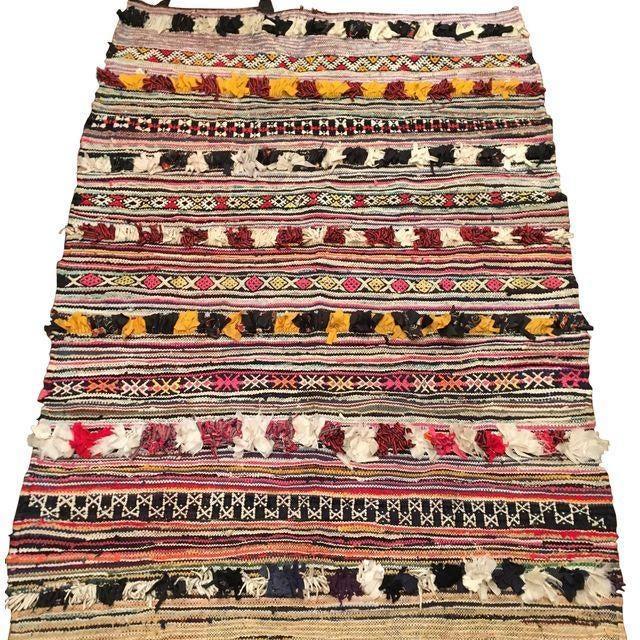 "Vintage Moroccan Boucherouite Rug - 4'8"" x 6'8"" For Sale"