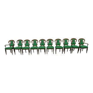 Rare Set of 10 Mastercraft William Doezema Amboyna Burl Wood Biedermeier Dining Chairs P