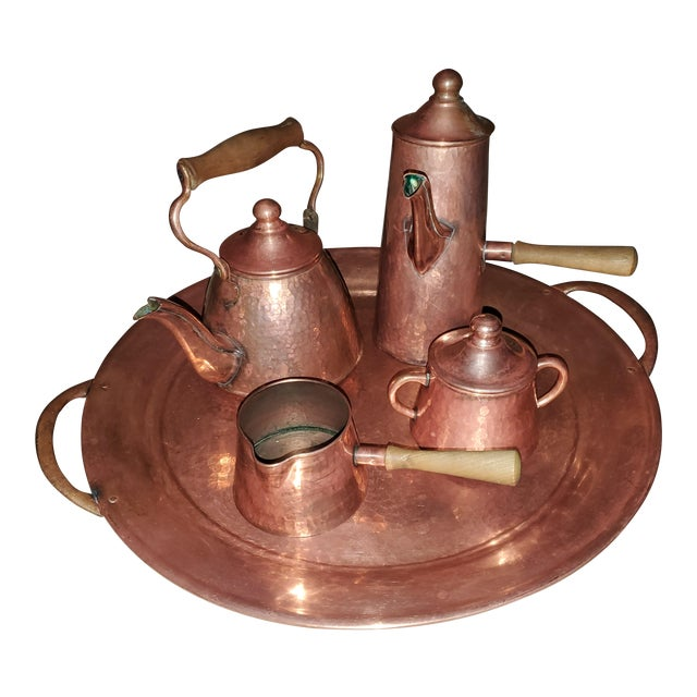 Vintage Rustic Mexican Hammered Copper and Brass Coffee Serving Set For Sale