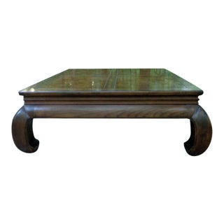 1970s Henredon Artefacts Burl Ming Style Coffee Table For Sale