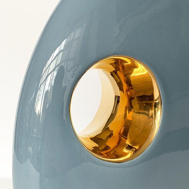 Abstract Jaru Blue and Gold Sculptural Ceramic Vase For Sale - Image 3 of 13