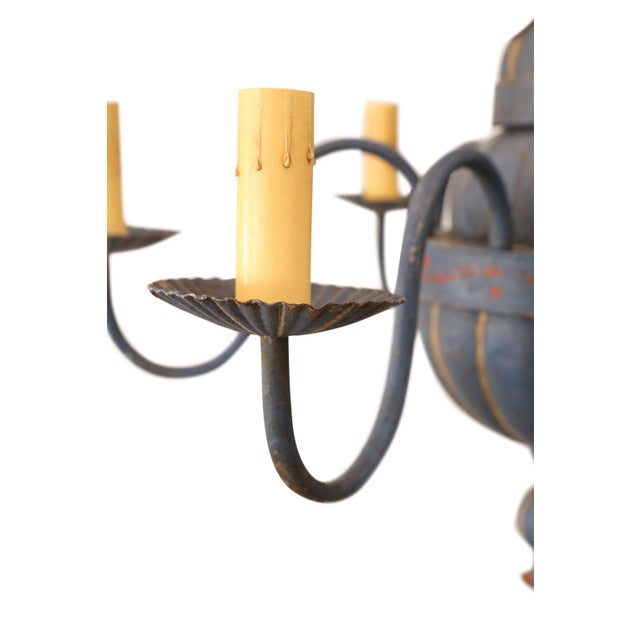 Vintage painted tole chandelier from France. Newly-wired with six arms, extra chain and a canopy.