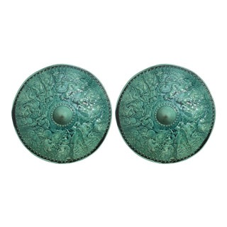 Turquoise Majolica Parade Shields with Battle Scenes, 19th Century - A Pair For Sale