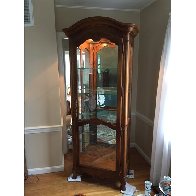French Country Ethan Allen Country French Lighted Curio Cabinet For Sale - Image 3 of 5