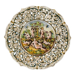 Italian Capodimonte-Style Figural Charger Plate Signed Ardalt For Sale
