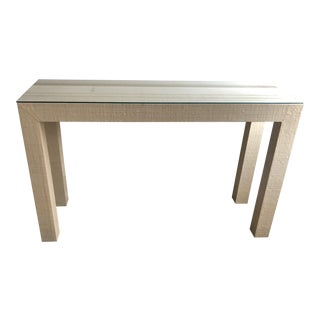 Contemporary Grasscloth Wrapped Parsons Console For Sale