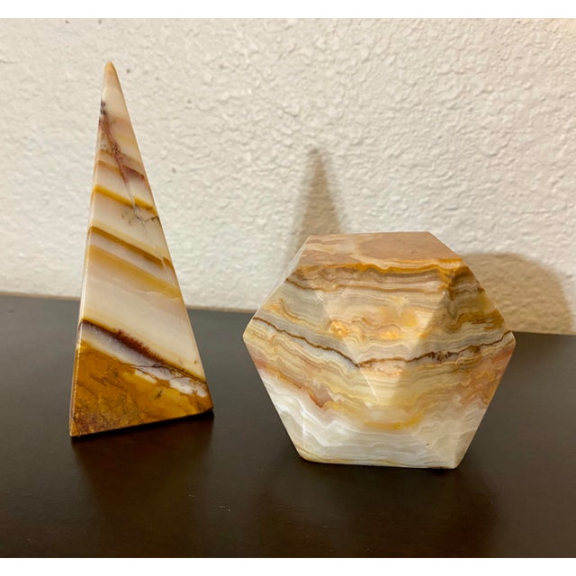 Mid-Century Modern Onyx Geometric Sculptural Desk Paperweights - a Pair For Sale - Image 3 of 7