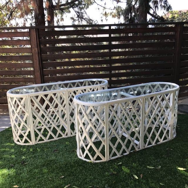 Bamboo Oval Tables - A Pair - Image 2 of 9