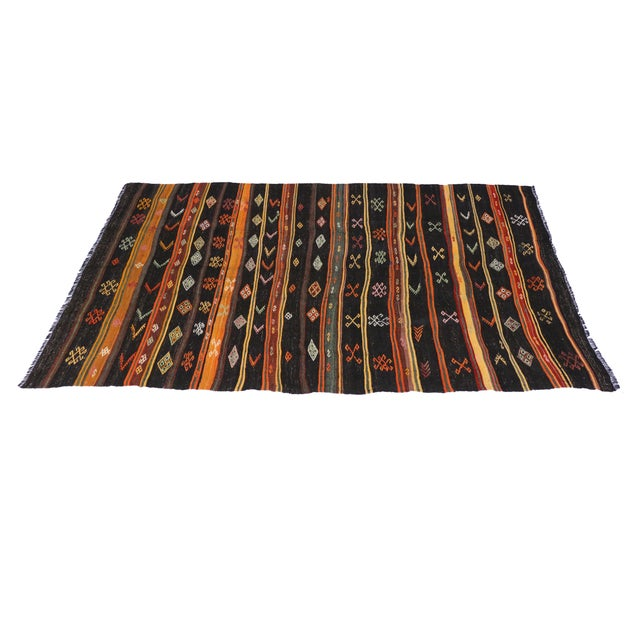 Boho Chic Turkish Tribal Design Kilim - 6′5″ × 12′ For Sale - Image 3 of 4