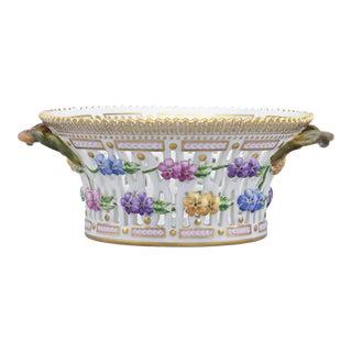 Flora Danica Pierced Porcelain Basket by Royal Copenhagen For Sale