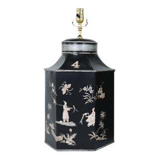Late 20th Century Tea Caddy Lamp With Black Background and Silver-White Chinoiserie Decorations For Sale