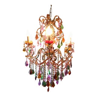 Multi-Colored Jeweled Chandelier For Sale