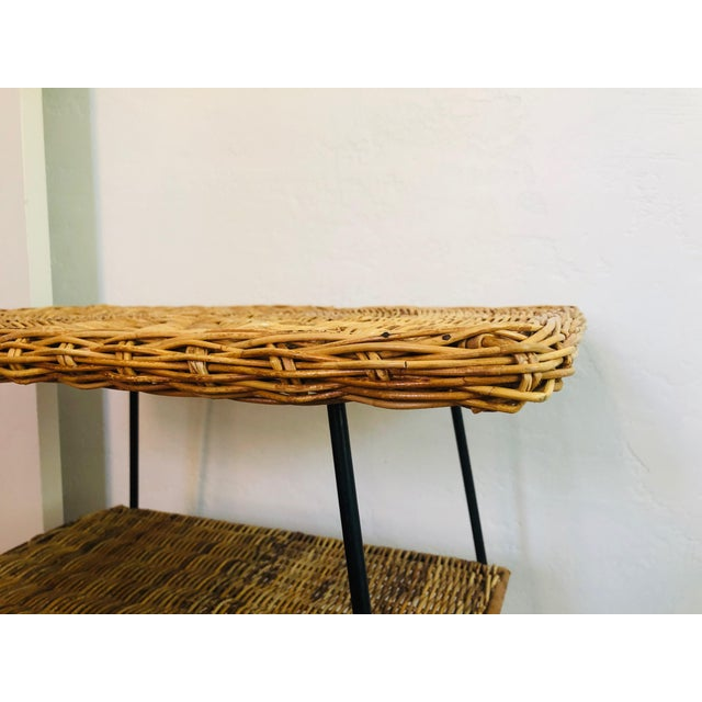 Mid Century Rectangular Wicker Side Table on Iron Frame For Sale In San Francisco - Image 6 of 11