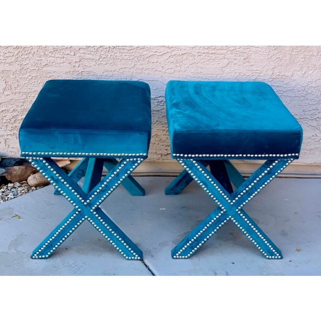 2010s Teal Velvet X Form Bench Seats - a Pair For Sale - Image 5 of 7