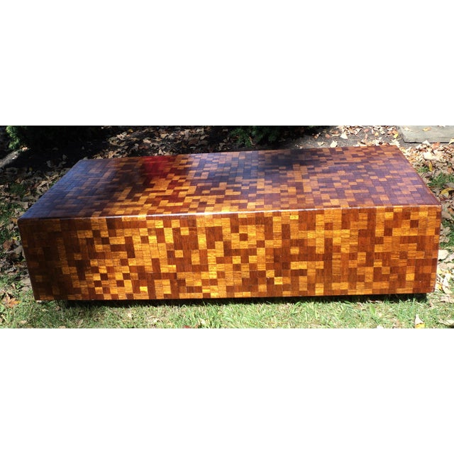Mid-Century Modern Patchwork Wood Coffee Table - Image 4 of 11