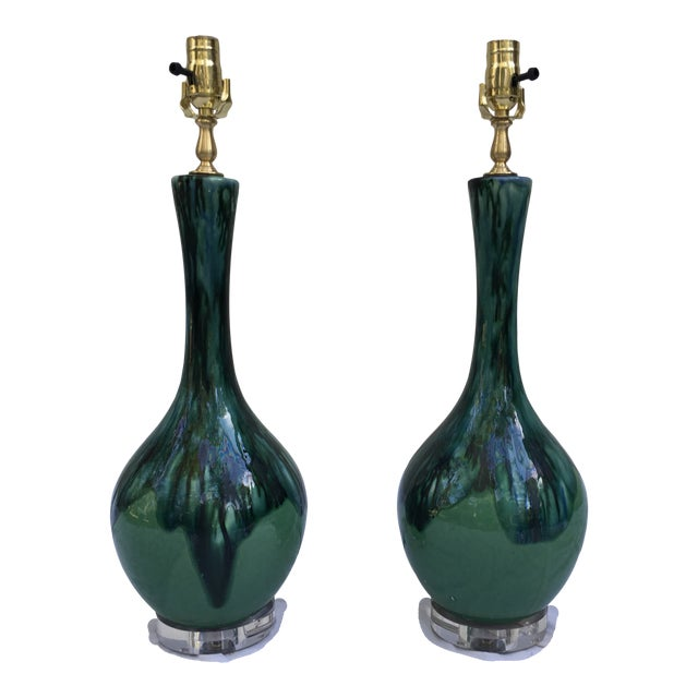 Midcentury Drip Glaze Gourd Lamps, a Pair For Sale