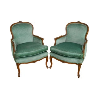 French Louis XV Style Vintage Pair of Bergere Chairs D. Becker & Sons For Sale