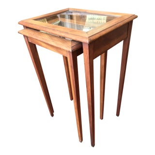 Wood & Glass Nesting Stacking Tables - a Pair