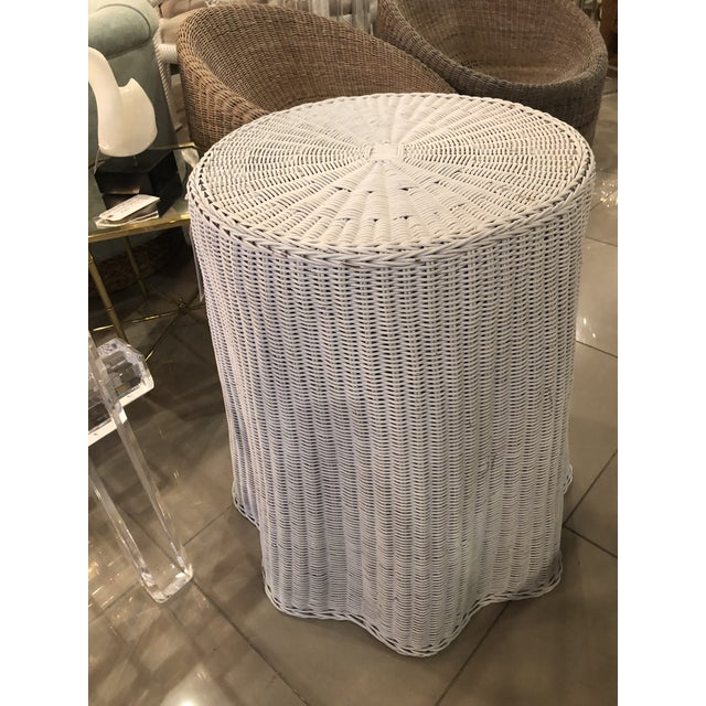 Vintage Draped Wicker Rattan Trompe L Oeil Side End Table Lacquered in Your Choice of Color For Sale - Image 9 of 9