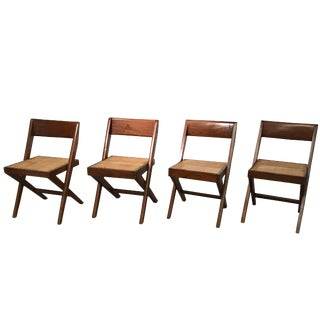 Set of Four Library Chairs by Pierre Jeanneret For Sale
