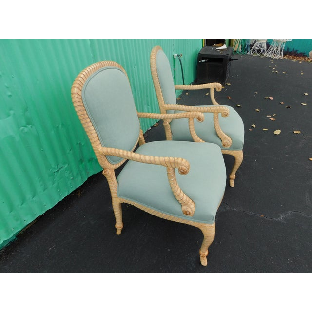 French Country Hollywood Regency Carved Knotted & Twisted Rope Bergere Chairs - a Pair For Sale - Image 3 of 11