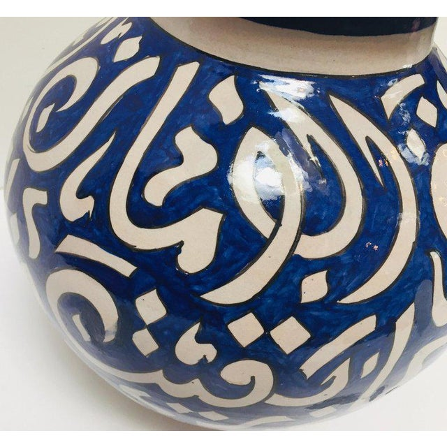 Moroccan Ceramic Blue Urn From Fez With Arabic Calligraphy For Sale - Image 9 of 12