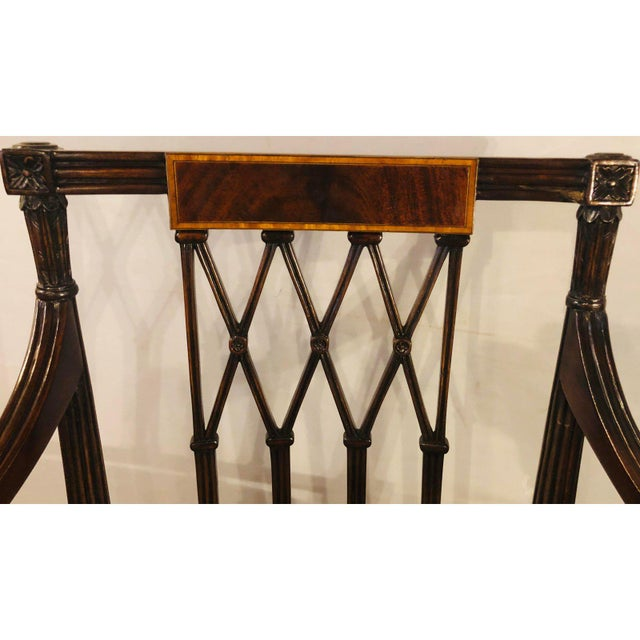 Brass Set of Twelve Sheridan Style Dining Chairs With New Upholstery For Sale - Image 7 of 13
